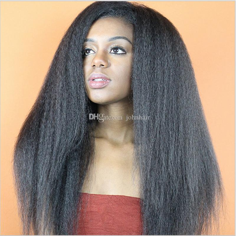 Top Quality Virgin Human Kinky Straight Wig 8A Glueless Full Lace Wigs Yaki Human Hair Lace Front Wigs Black Women With Baby Hair