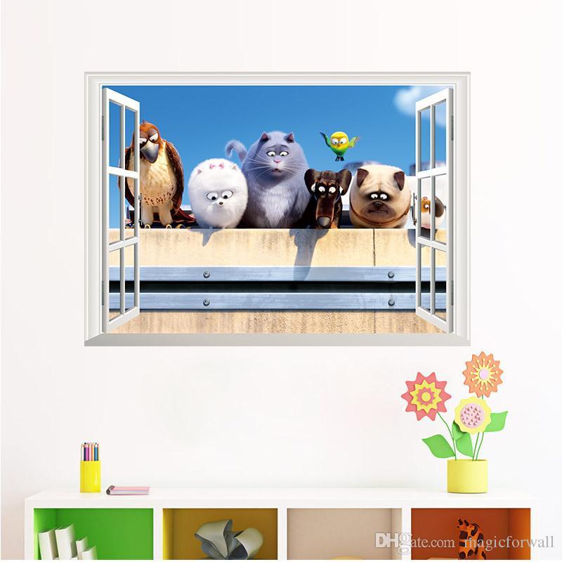 Cartoon Animals Window View Wall Stickers Kids Boys Girls Room Nursery Wall Mural Poster DIY Home Decoration Wallpaper Wall Graphic