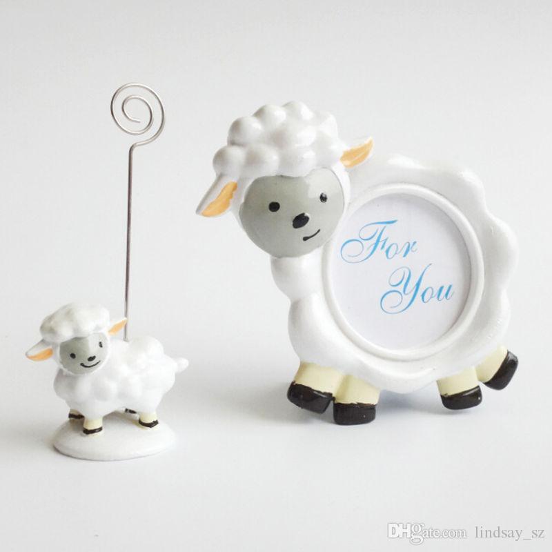 Słodkie dziecko owce Uchwyt Karty Urocza Wiadomość Żywica Uwaga Klip Birthday i Wedding Party Decoration Favors Szybka Wysyłka