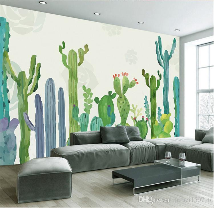 large 3d cacti wall murals photo wallpaper for living room cactus plant wall paper 3 d papel de. Black Bedroom Furniture Sets. Home Design Ideas