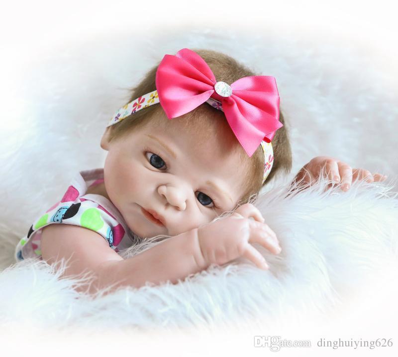 22 inch Victoria ANATOMICALLY CORRECT Full Vinyl Body Girl Reborn Doll Girls Birthday Gift Play Dolls Toy in Pink Princess Dress