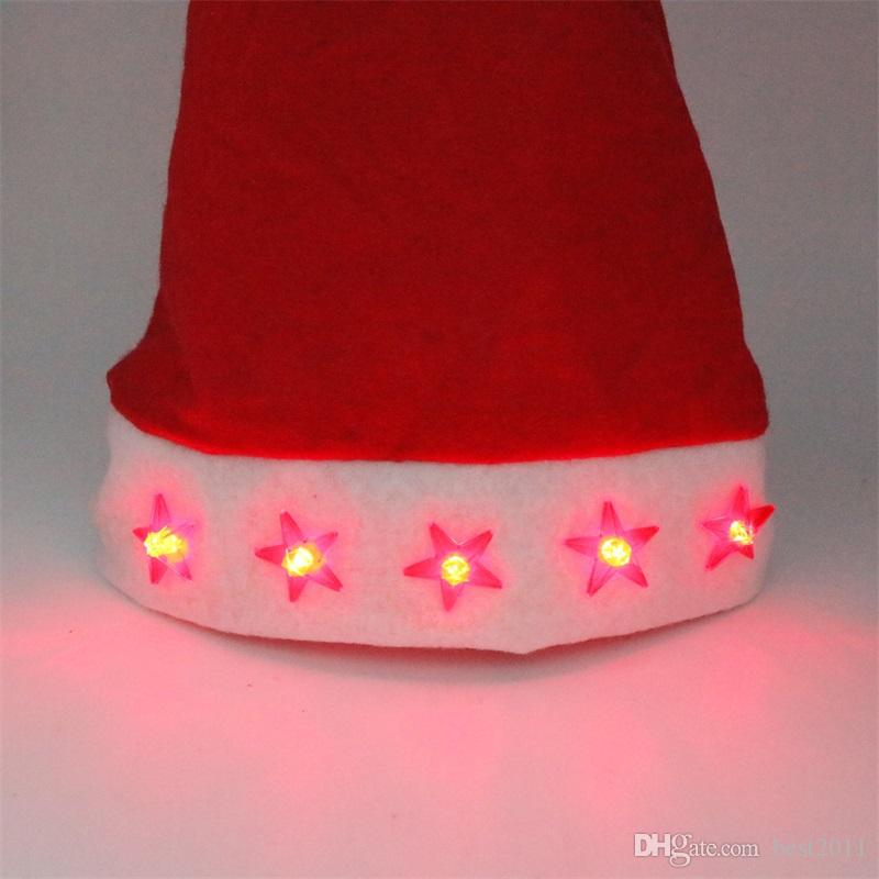 11.11 Shopping Festival Led Flashing Christmas Hats XMAS Santa Claus'cap Light Up Caps Stars Non-woven Christmas hats