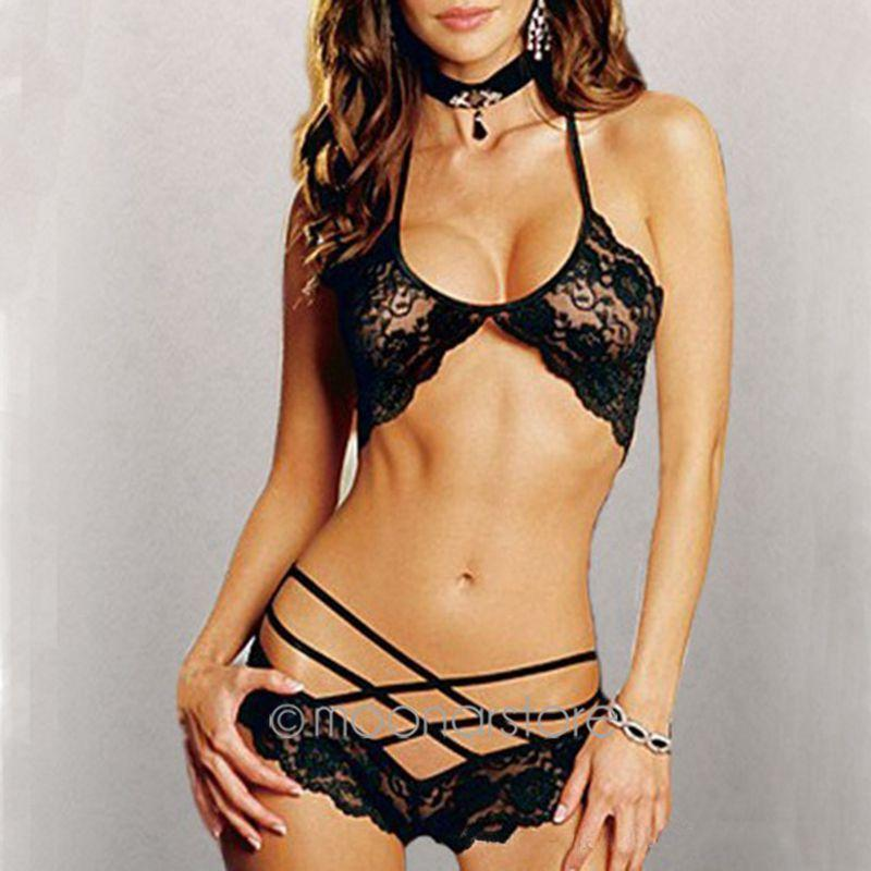 5ad77eac360 Sexy Hot Woman Lace Sleepwear Halter Underwear Lingerie G-string ...