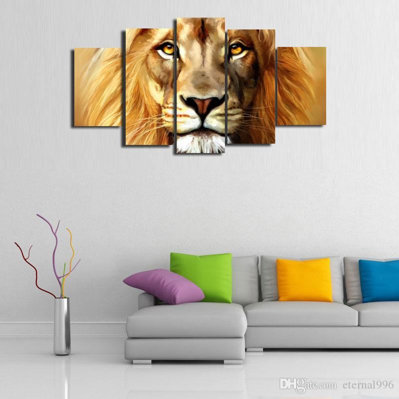 5 Panels The Lion King Modern Abstract Canvas Oil Painting Print Wall Art Decor For Living Room Home DecorationUnframed Framear01