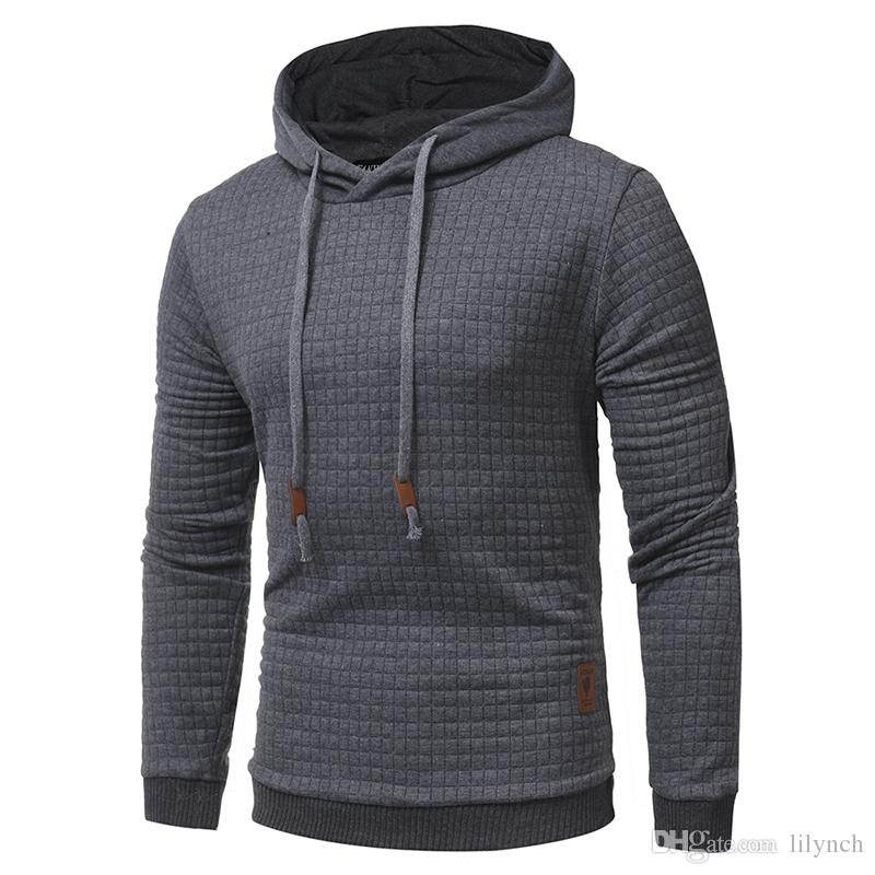 Top fashion brand apparel spring winter new warm primer shirt plaid jacquard men's solid color hooded sweater