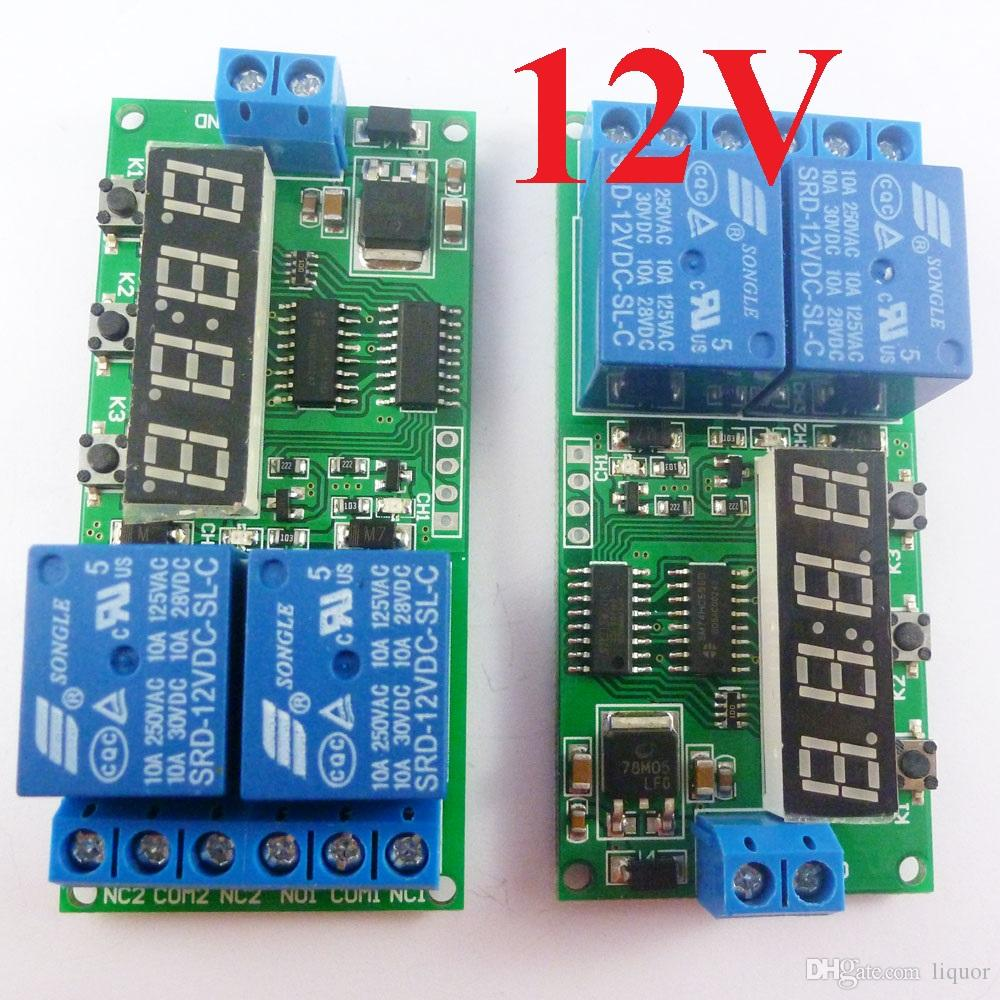 Dc 12v 2ch Delay Relay Cycle Timer Switch Module 1 9999s For Motor Dual Intermatic Time Clock Wiring Diagram Led Smart Home Digital From Liquor 1432