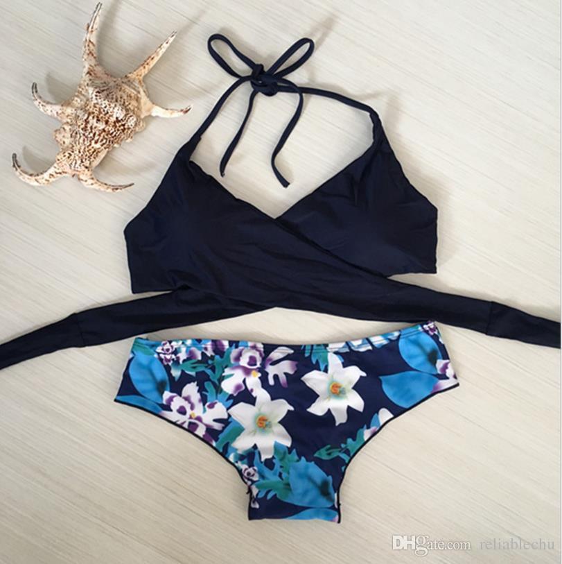 2018 Sexy Swimwear Bikini Women Sexy Beach Underwear Lashing Design Printed Floral Briefs Two-Piece Swimming Suit
