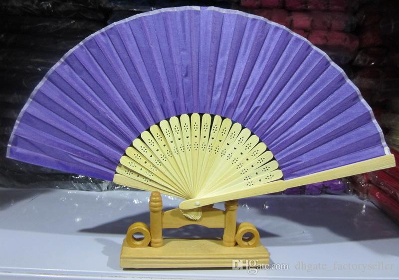 Solid-colored Nylon Wedding Hand Fans Fabric Pure Color Wedding Fans Can Print Test You Need