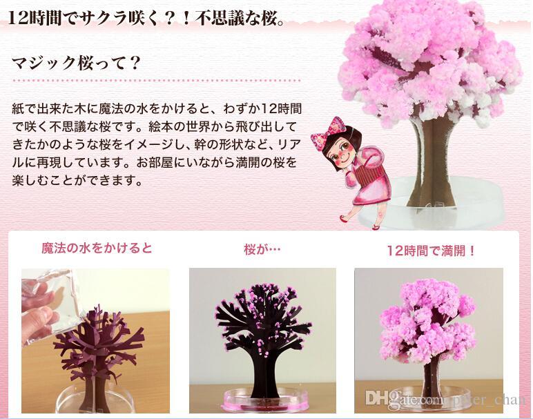 Iwish 2017 Visual 14x11cm Różowy Duży Rosną Magiczny Papier Sakura Drzewo Japoński Magicznie Rosnące Drzewa Kit Desktop Cherry Blossom Boże Narodzenie 20szt