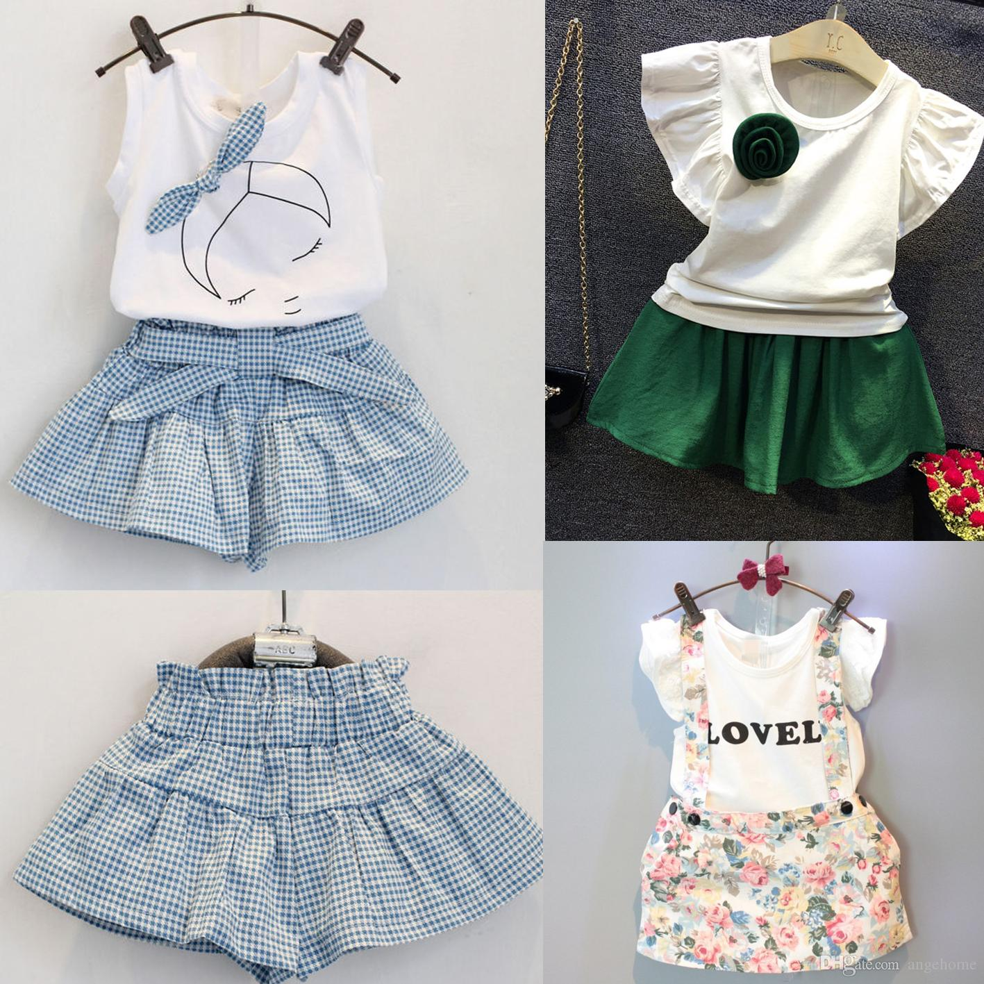 b3621883d64c 2018 2016 Summer Kids Suit Kids Girls Cute Bow Girl Dress Lace White ...