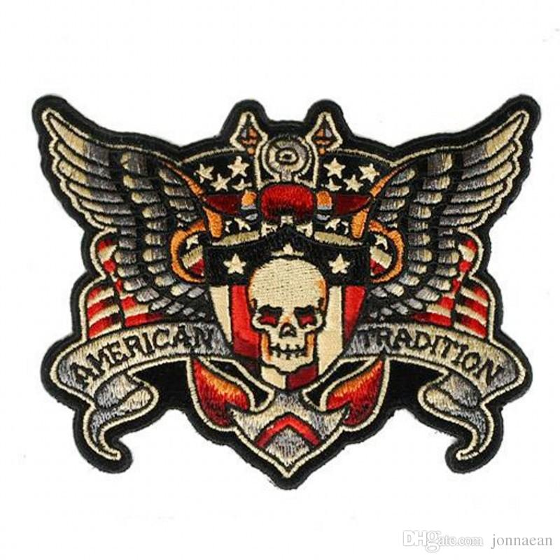 Hot Sale Skeleton Wing MC Patch Handmade Embroidered Iron On Motorcycle Patches Applique Punisher Skull