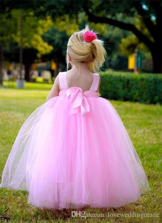 Cute Lovely Pink Flower Girls Dresses 2017 Princess Empire Waist Tulle Handmade Flower Tutu Toddler Baby Child Dress Fast Delivery