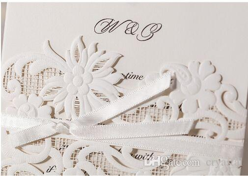 2016 Laser Cut Flower Wedding Invitations Cards Personalized Hollow Wedding Party Printable Invitation Cards Ribbon with Envelope