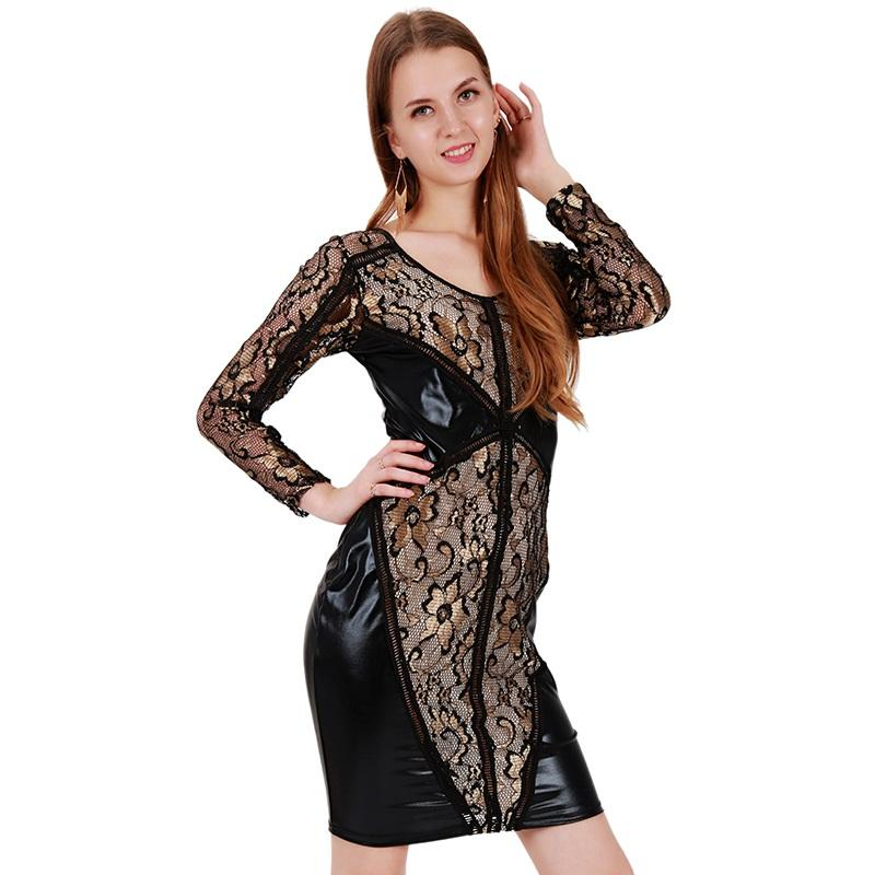 Sexy Black Vinyl Leather Dress Vintage Women Lace Embroidery Floral