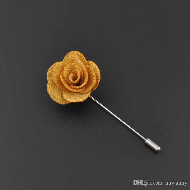 Venta caliente Cinta Solapa Flor Rose Hecho A Mano Boutonniere Pin Broche de Los Hombres Accesorios Broches Pines Joyería Al Por Mayor 0406WH