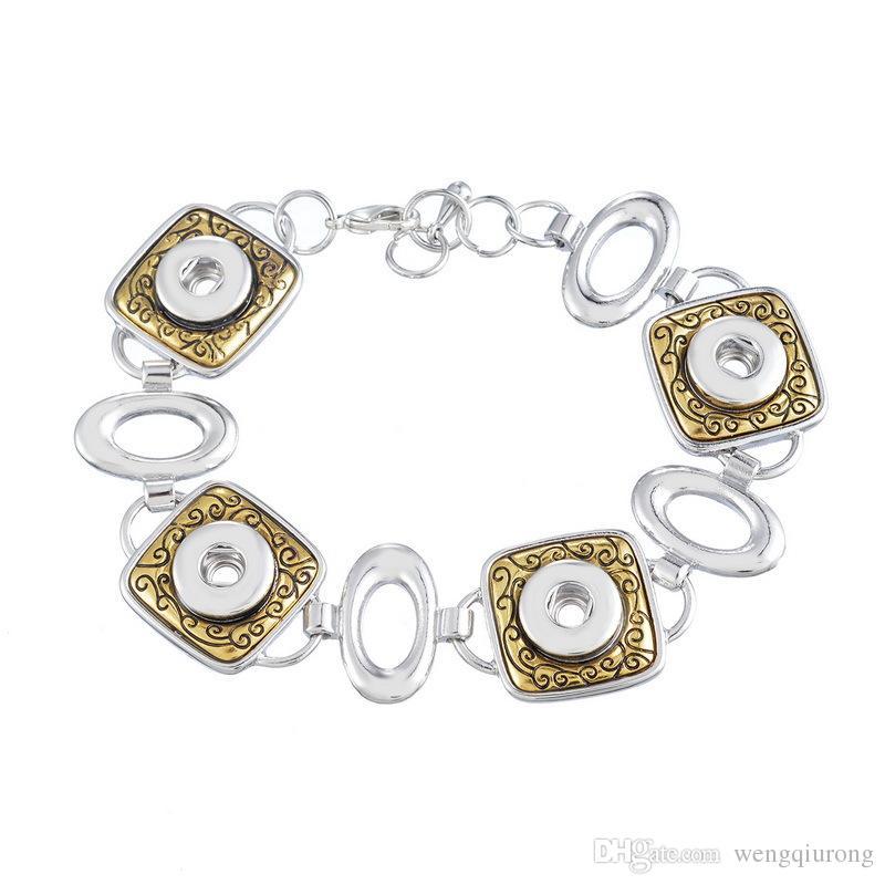 New SG0047 Beauty Charming Golden Square pattern ginger snap bracelet 22cm fit 12MM ginger snap buttons wholesale
