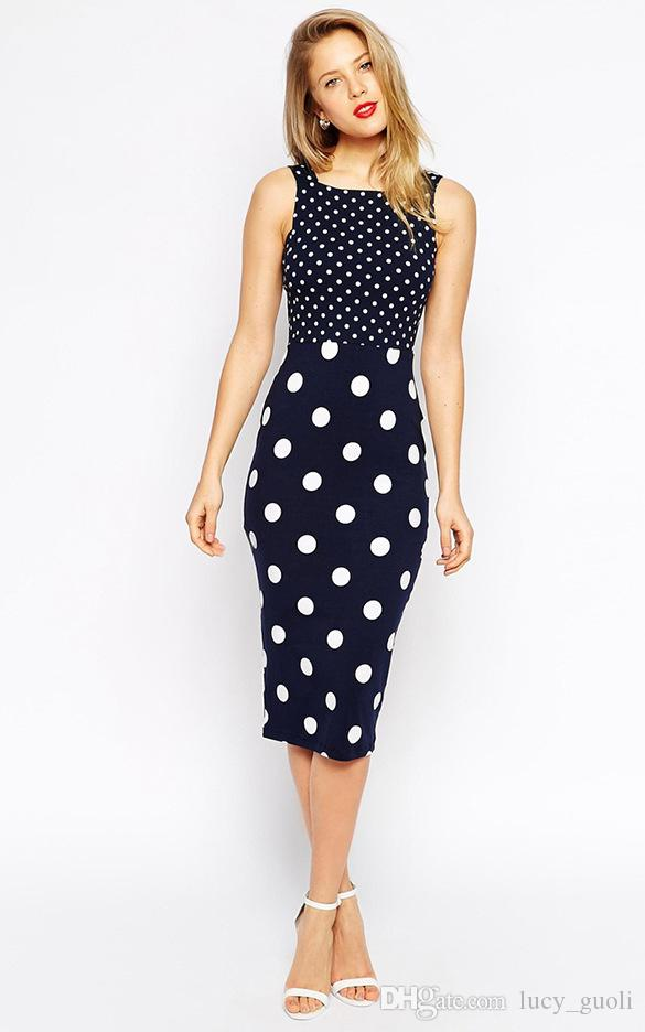 2016 Sexy Women Summer Dress Dot Slim Bodycon Backless Clubwear Party Dress Sheath Party Formal Career Sleeveless Hollow out Pencil Dress