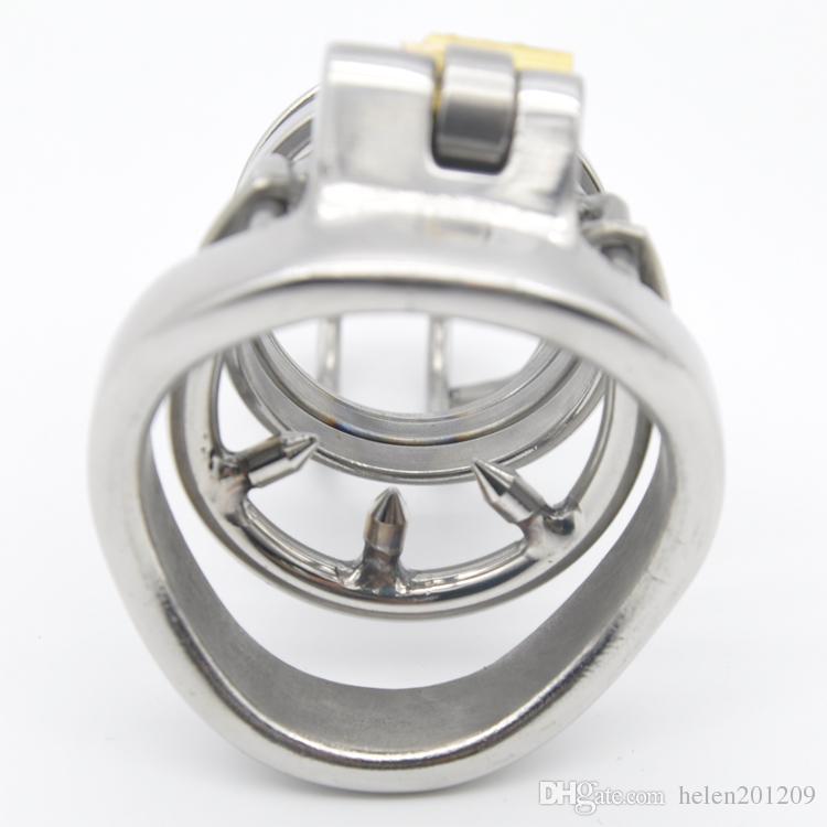 316 en acier inoxydable Cock super petit sissy Cage Chastity avec Anti-off anneau périphérique Appareil Bondage Fétiche anneau pénis A274-1