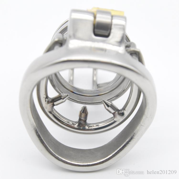 Aço inoxidável 316 Galo Super pequeno Gaiola Castidade com Anti-off Anel Dispositivo Bndage Dispositivo Fetiche anel Penis A274-1
