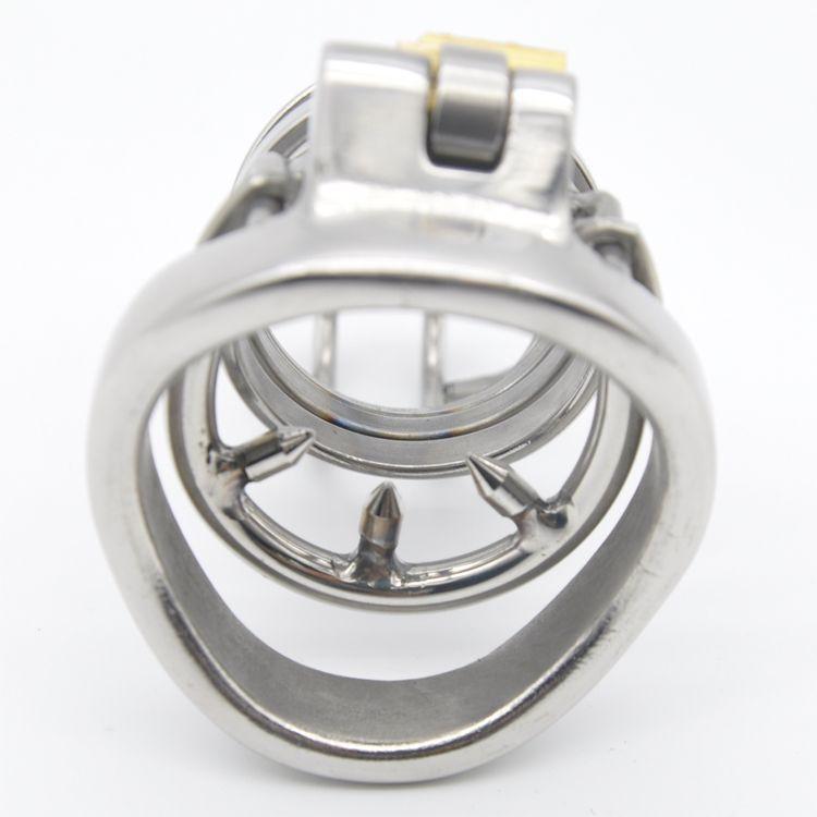 acero inoxidable 316 Cock Súper pequeña mariquita castidad jaula con Anti-off dispositivo de anillo Bondage Fetish Dispositivo pene A274-1 anillo