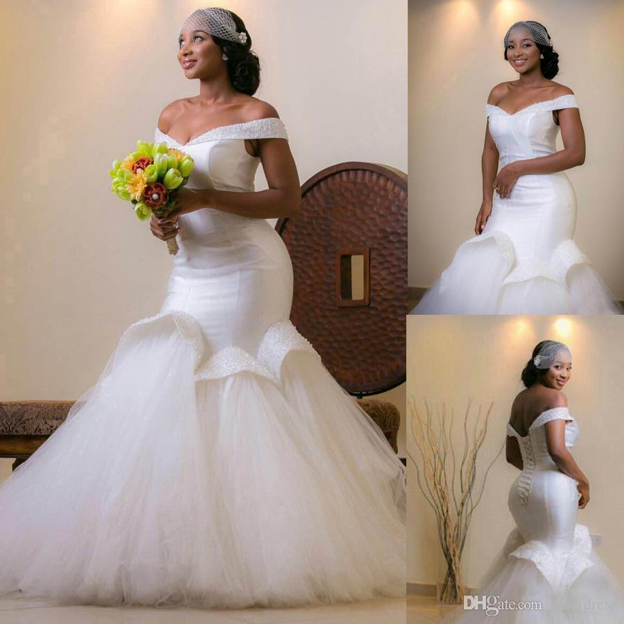 Aso Ebi Style Arabic Bellanaija Wedding Bridal Gowns Tulle