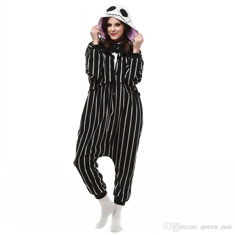 Cosplay Anime The Nightmare Before Christmas Disfraz de Jack Skellington Skeleton Onesie Party Pijamas de Navidad Plus Size S-XL Jumpsuit Free