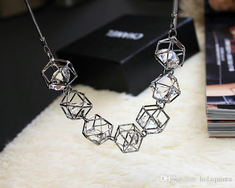 Cristal geométrico declaración collar mujeres collares 2017 nueva joyería de moda regalo al por mayor