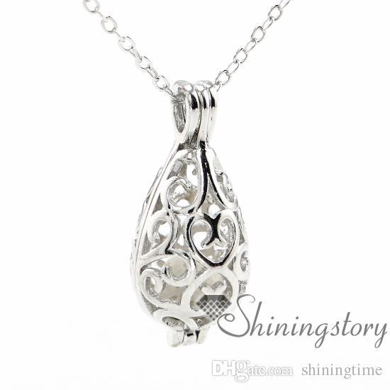 lágrima calado piedra volcánica esenciales collar collar de aceite de difusor de perfume al por mayor collar de aromaterapia difusores de metal de joyería
