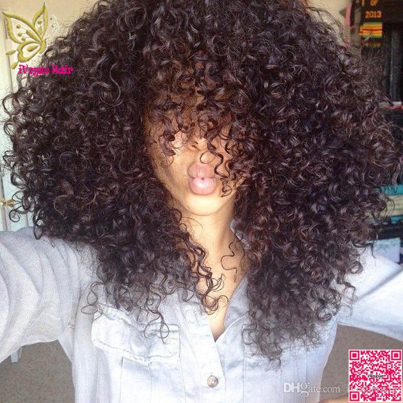 Afro Kinky Curly Curly Front Human Human Wigs com franja Brasileira Laço completo Peruca de cabelo humano encaracolado para mulheres negras Grade 7a