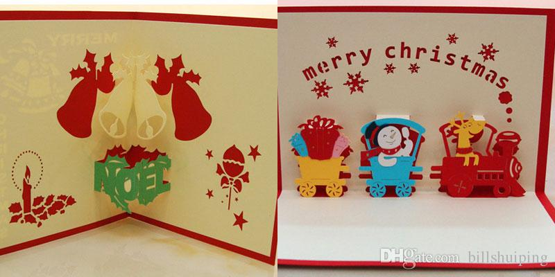 Santa Claus Handmade Kirigami Origami 3D Pop UP Greeting Cards Invitation Postcard For Birthday Christmas Party Gift