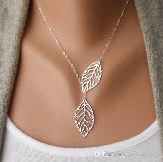 New arrival High quality gold and silver alloy hollow necklace double leaf clavicle chain choker jewelry for women