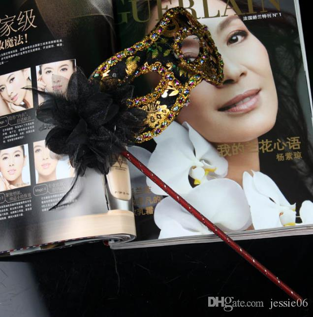 Mascarade vénitienne masque de déguisement sur bâton Mardi Gras Costume eyemask impression Halloween Main Held Stick Mask party fournitures