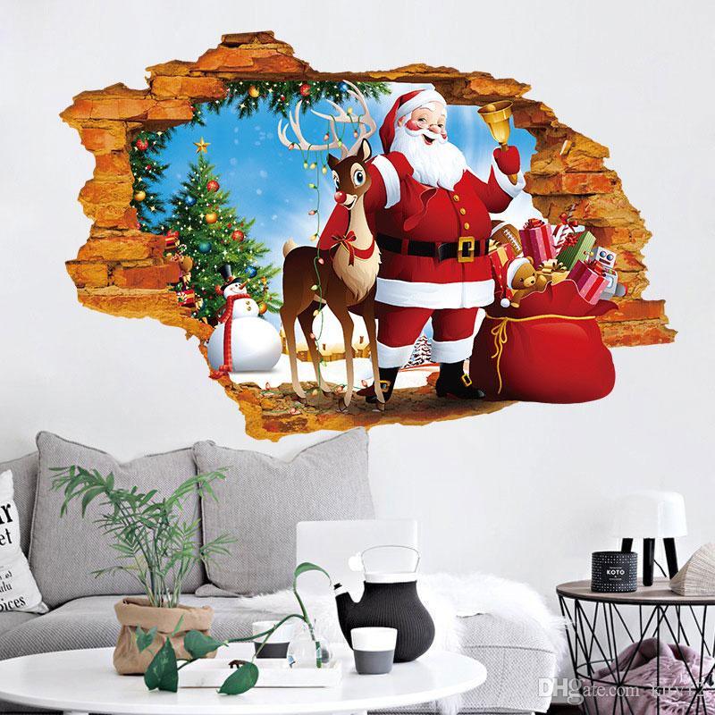 Hot New Adorável Feliz Natal Papai Noel Cervos Dos Cervos Boneco de Neve Presente Adesivos de Parede Decalques de Parede para Kids Room Home Decorations