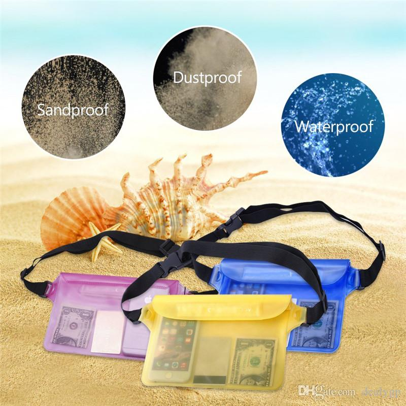 PVC Waterproof Bag Transparent Water Proof Cell Phone Camera Case for iPhone 5S SE with Waist Strip