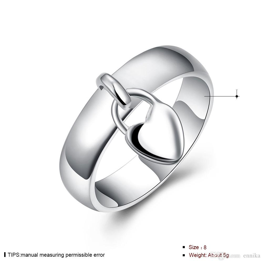 Wholesale 925 Silver Ring Pretty Heart Pendant Finger Rings For Women New Fashion Jewelry r133