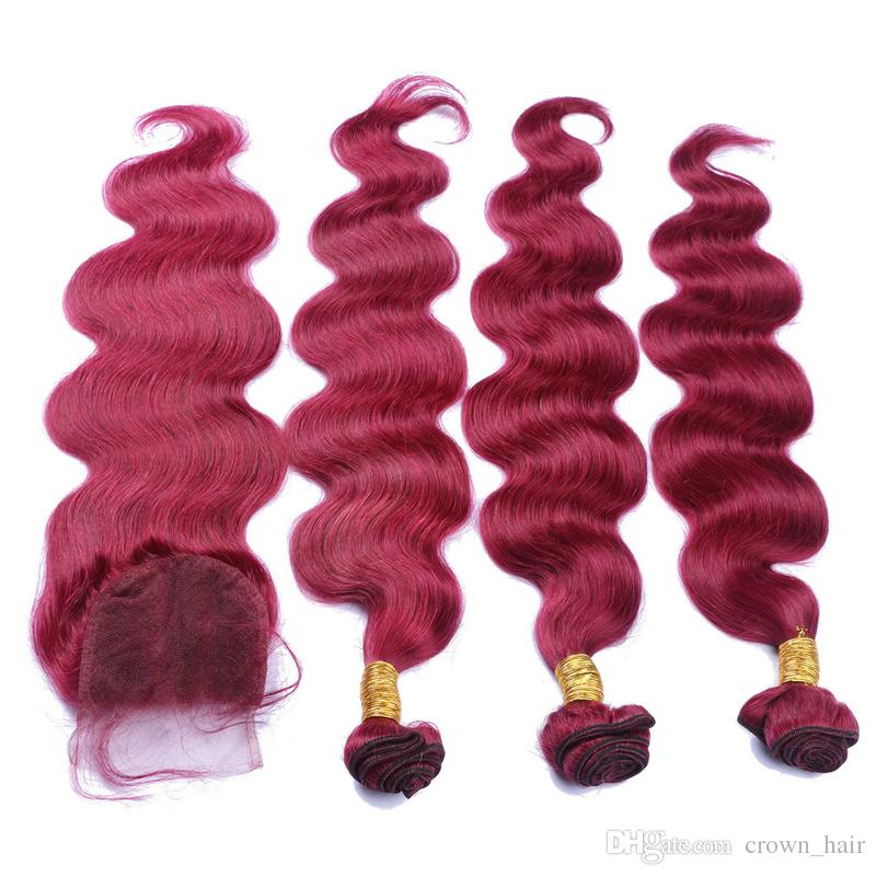 9A Brazilian Burgundy hair With Lace Frontal Closure 4x4inch Body Wave #99J Wine Red Human Hair 3 Bundles With Top Lace Closure