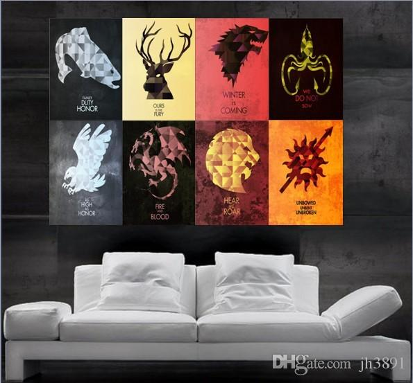 Game Of Thrones Symbols Of Houses Flags Poster Poster Print Wall Art