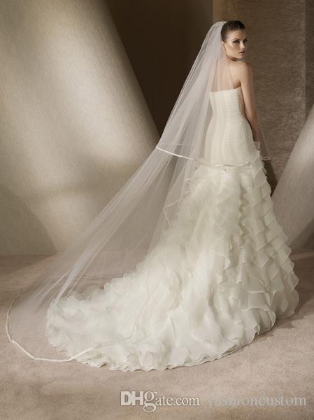 Nuevo borde de cinta de dos capas vintage con peine Lvory velo de novia blanco velo de novia catedral 3 m de longitud