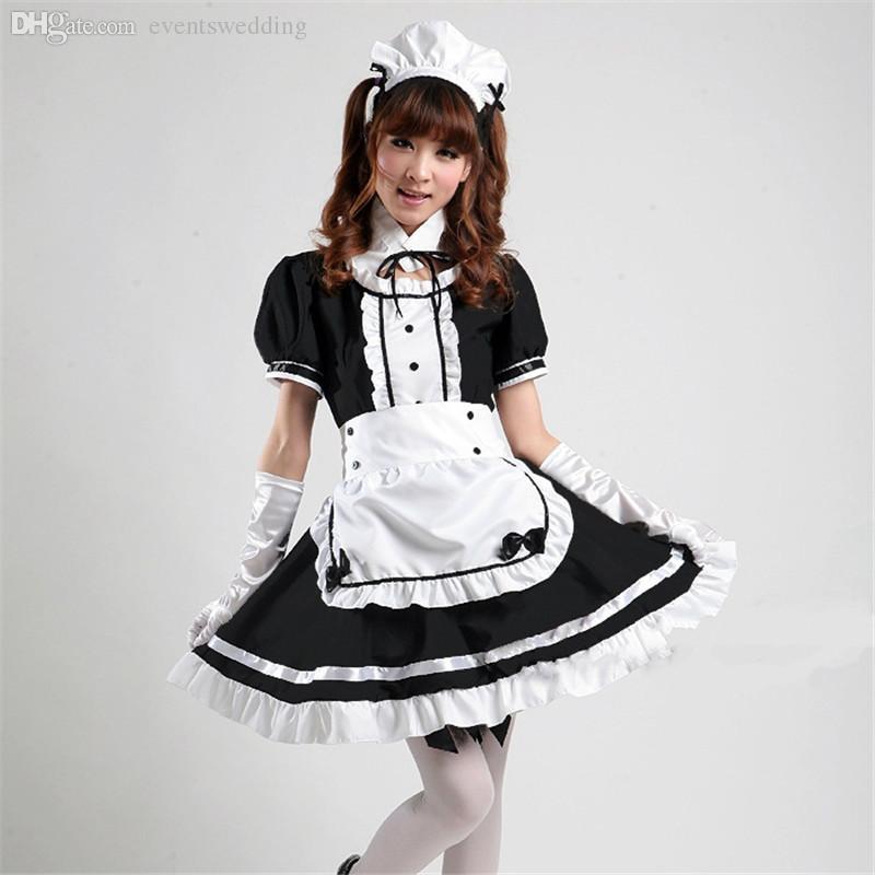0148a2da7 Compre Atacado Japão Hot Anime Akihabara Cosplay Empregada Traje Meninas  Bonitas Lolita Preto Escuro Vestido Saia Escola Lolita Tule Sexy Cosplay S  XXXL De ...