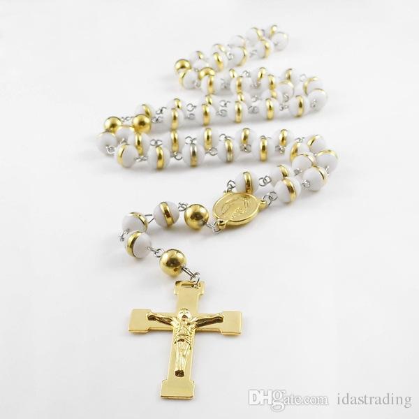 Ciondolo uomo Ciondoli collane Ciondoli perline multicolor Collana ciondolo Gesù in acciaio inossidabile donna