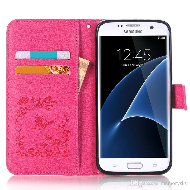 Butterflies Embossed Point drill Leather Case For Samsung S5 S6/S6edge S7/S7edge S8/S8 plus Note8 Phone Cover Card Pocket Protector