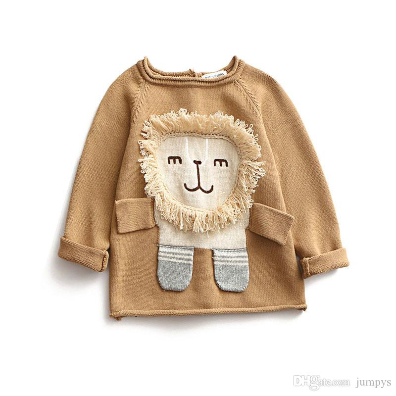 Compre Tops De Punto De Las Niñas Lion 3d Patrón Suéter Sweet Kids ...