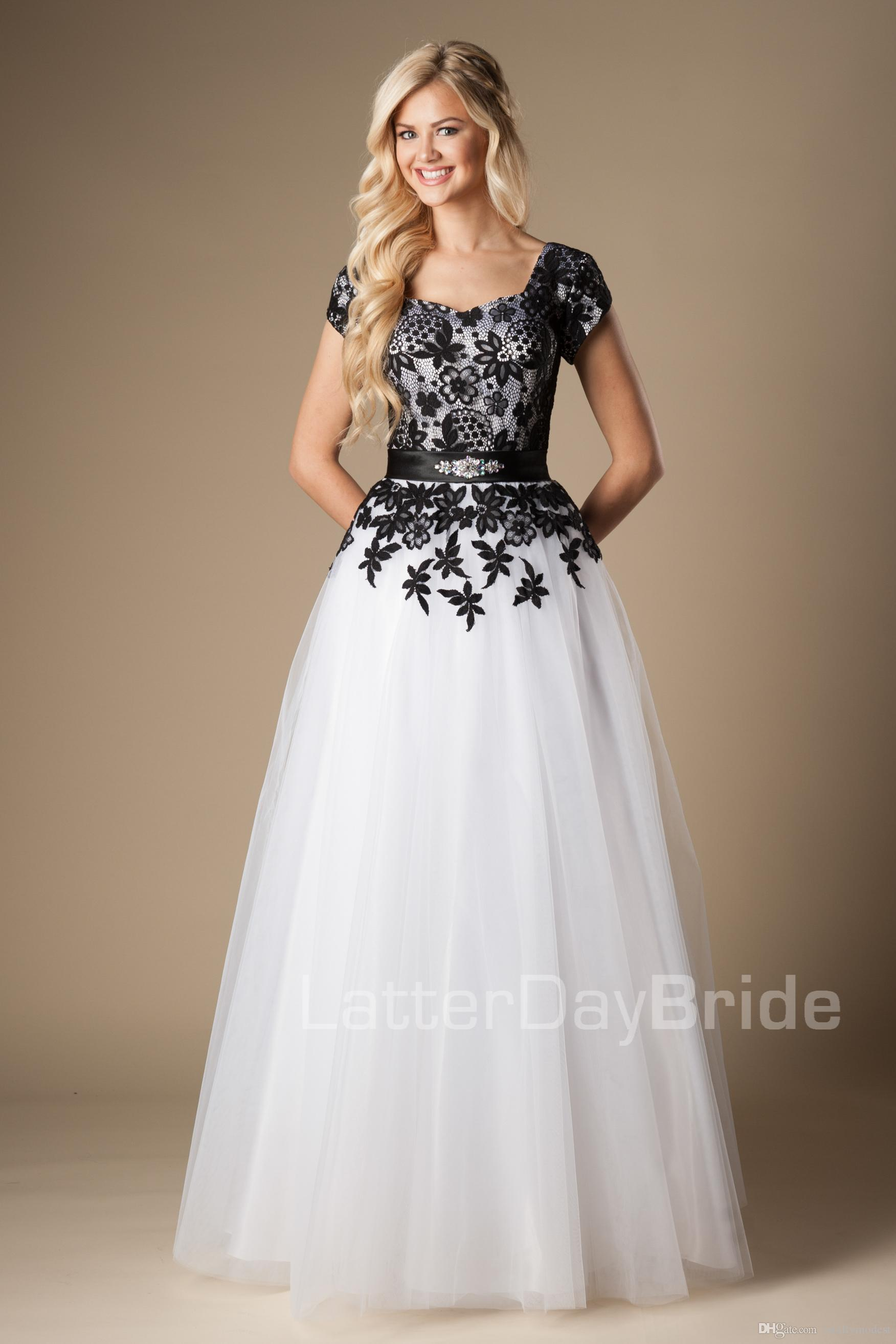 Simple Black And White Long Modest Prom Dresses With Cap Sleeves ...