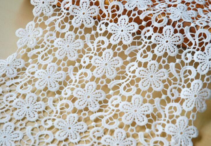 "10Yard Width 13"" White Flower Cotton Lace Fabric Trim Ribbon For Apparel Sewing DIY Wedding Dress Doll Cap Hair clip"