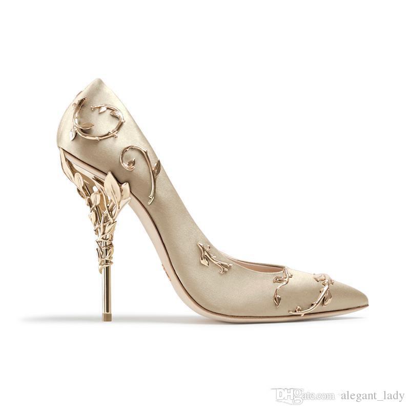 Ralph Russo rosado / dorado / burdeos Zapatos de novia de boda cómodos de diseñador Zapatos de tacón de eden de seda para la fiesta de bodas en la noche Zapatos de baile