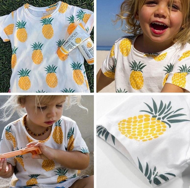 2019 2016 New Summer Kids Full Lemon T Shirt Short Sleeve