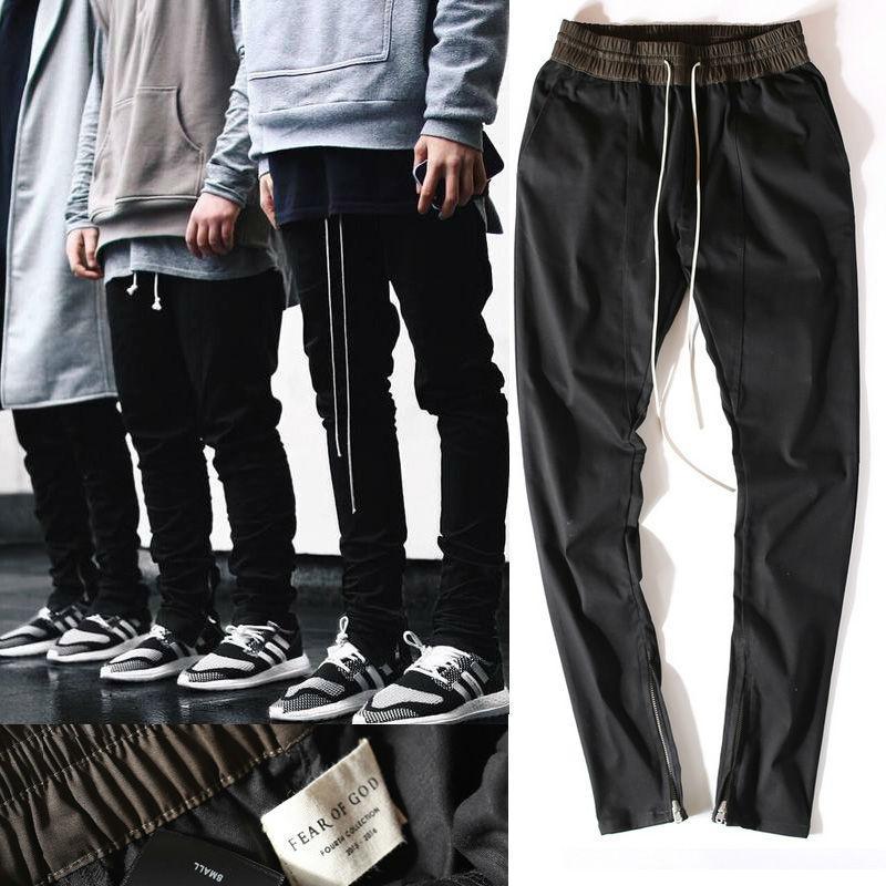 HOT Chinos Joggers Korean Mens European Urban Clothing Black Kanye West  Justin Bieber Harem Dress Zipper Track Pants Fear of God High Quality Pants  Clothi ...