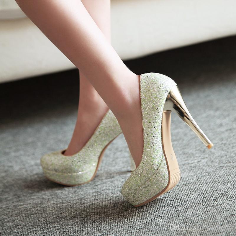 Brillo Dama Primavera Lentejuelas tacones altos delgados Sexy tacón de aguja Plataformas Vestido de novia blanco Sparkling Nightclub Party zapatos de baile