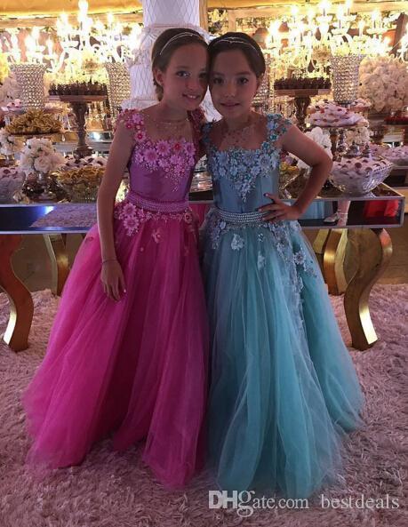 2017 Ziemlich Sheer O Neck Tüll Kinder Prom Kleider Mädchen Festzug Party Kleider Handgemachte Blumen Perlen Taille Lange Blume Mädchen Kleider