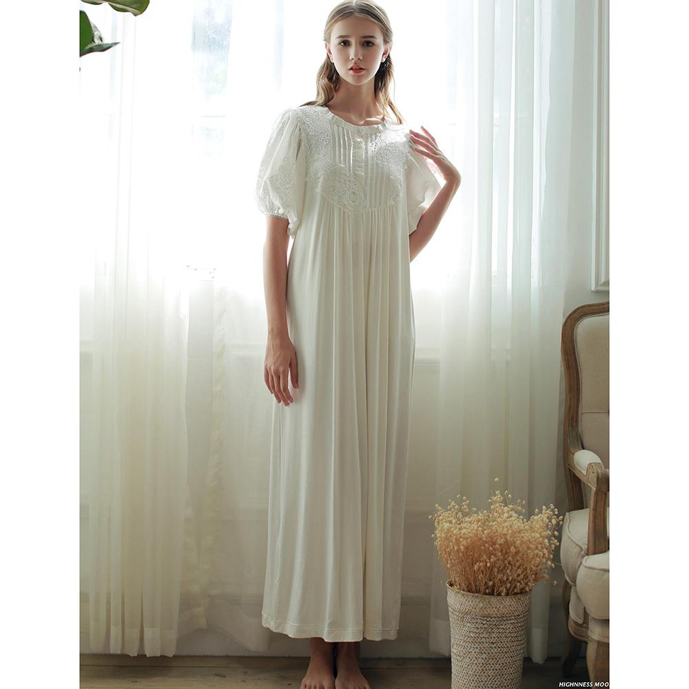 dcca3b274a 2019 Wholesale 2017 New Summer Princess Style Women S White Long Nightgown  High Quality Modal Sleepwear Vintage Pijamas Roupao Feminino SA16047 From  ...